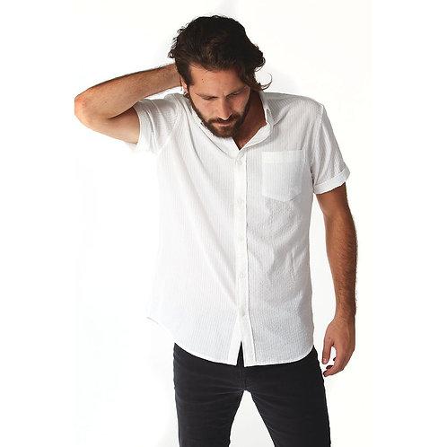 Devin White Seersucker Striped Shirt