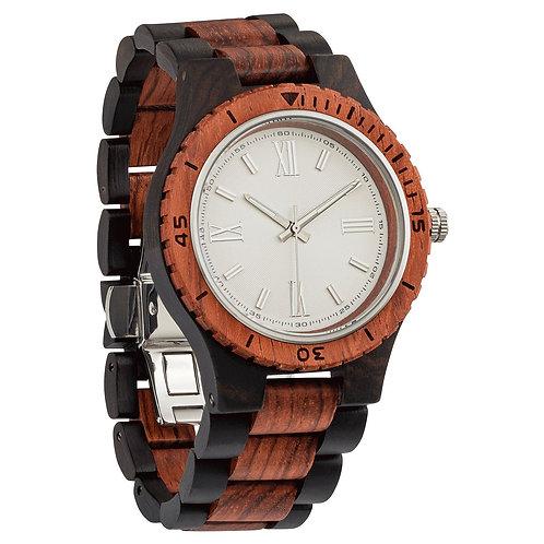 Men's Handcrafted Engraving Ebony & Kosso Wood Watch - Best Gift Idea!