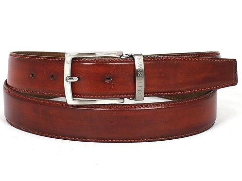 PAUL PARKMAN Men's Leather Belt Hand-Painted Reddish Brown
