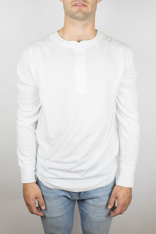 The Ignition Long Sleeve Henley in White