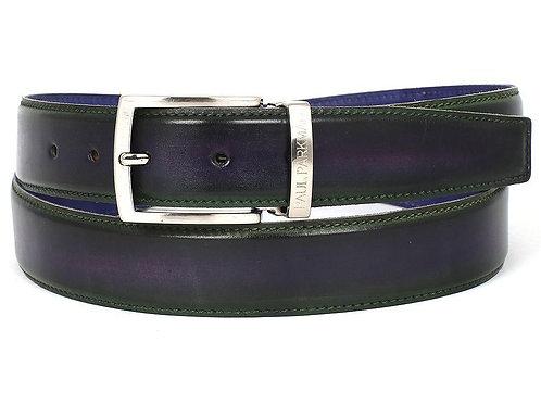 PAUL PARKMAN Men's Leather Belt Dual Tone Green & Purple