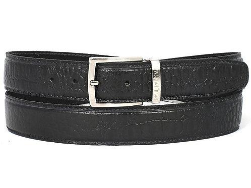 PAUL PARKMAN Men's Crocodile Embossed Calfskin Leather Belt Hand-Painted Black