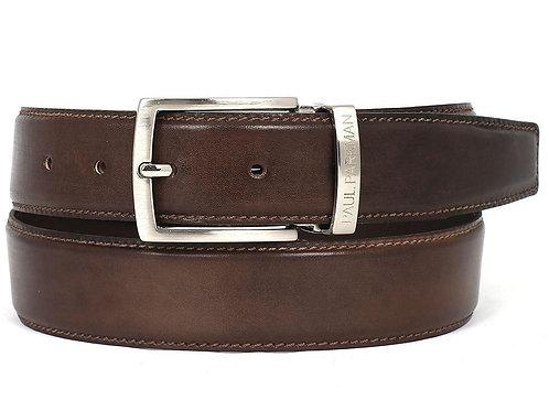 PAUL PARKMAN Men's Leather Belt Hand-Painted Brown