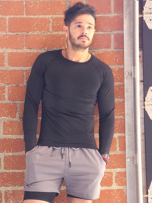 Robbins Long Sleeved Men's Tshirt - Black