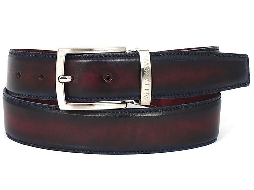 PAUL PARKMAN Men's Leather Belt Dual Tone Navy & Bordeaux