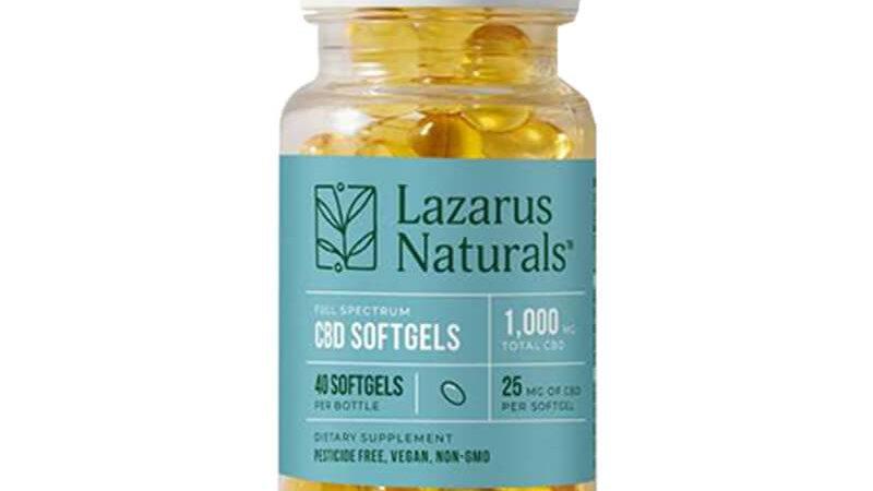 Lazarus Naturals - CBD Capsules - Full Spectrum Liquid Softgels - 25mg