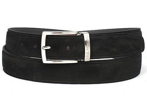 PAUL PARKMAN Men's Black Suede Belt