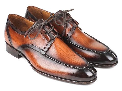 Paul Parkman Ghillie Lacing Brown Burnished Dress Shoes (ID#GU567BRW)