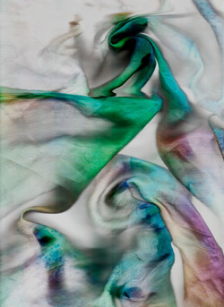 Inari Sandell: Hand dyed silk in green, blue and purple