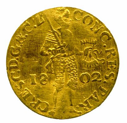 Alankomaiden Batavian tasavallan dukaatti vuodelta 1802.