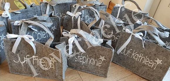 Vilten tassen met tekst
