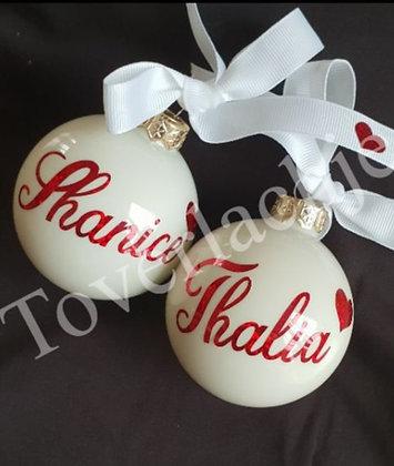 Kerstbal wit met rode tekst