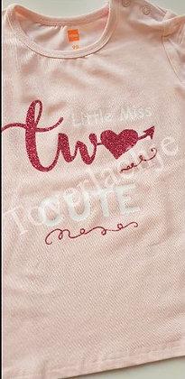 T-shirt 'Little miss two cute'