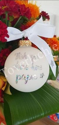 Kerstbal wit met zilveren tekst