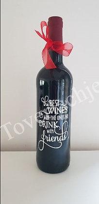 Wijnfles met tekst