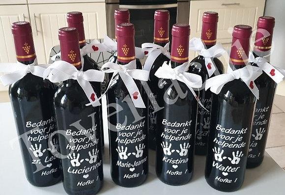 Wijnflessen met tekst