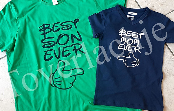 T-shirts 'best son/mom ever'
