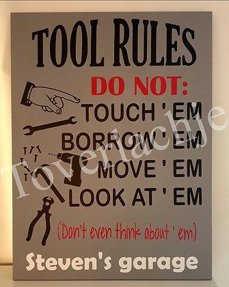 Tekstbord 'Tool rules'