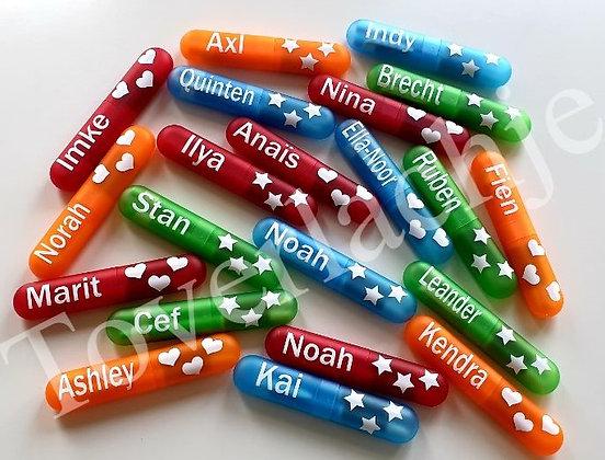 Fluostiften met naam