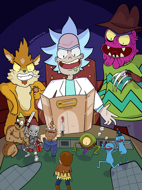 Dungeons and Dragons Rick and Morty- A5 Print