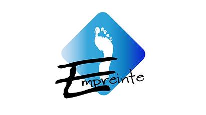 logo association empreinte centre de danse oignies 62590 losange nuances de bleu empreinte de pied blanc inscription empreinte noire