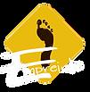 logo association empreinte centre de danse oignies losange jaune moutarde empreinte de pied noir inscription empreinte blanc