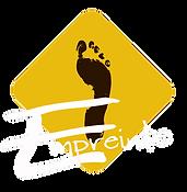 logo association empreinte centre de danse losange jaune moutarde empreinte de pied noire inscription empreinte blanc oignies