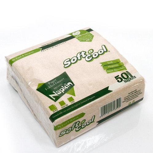 Soft n cool-brown paper dinner napkin-33x33 cm-50pcs