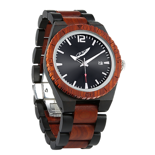 Men's Personalized Engrave Ebony & Rosewood Watches - Free Custom Engraving