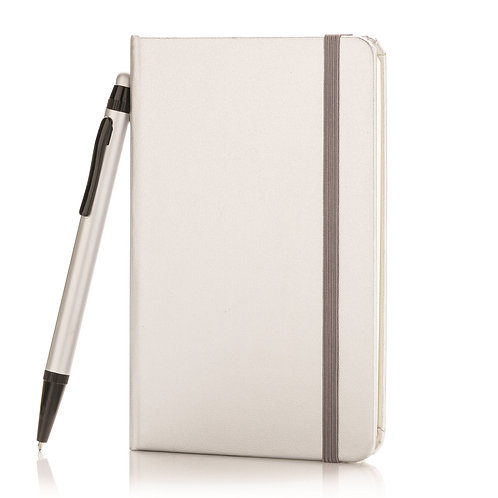 XD Design A6 Hard Cover Notebook With Stylus Pen - Silver