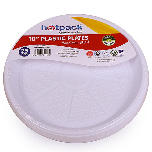 "Hotpack-plastic round plate -10""    - 25pcs"