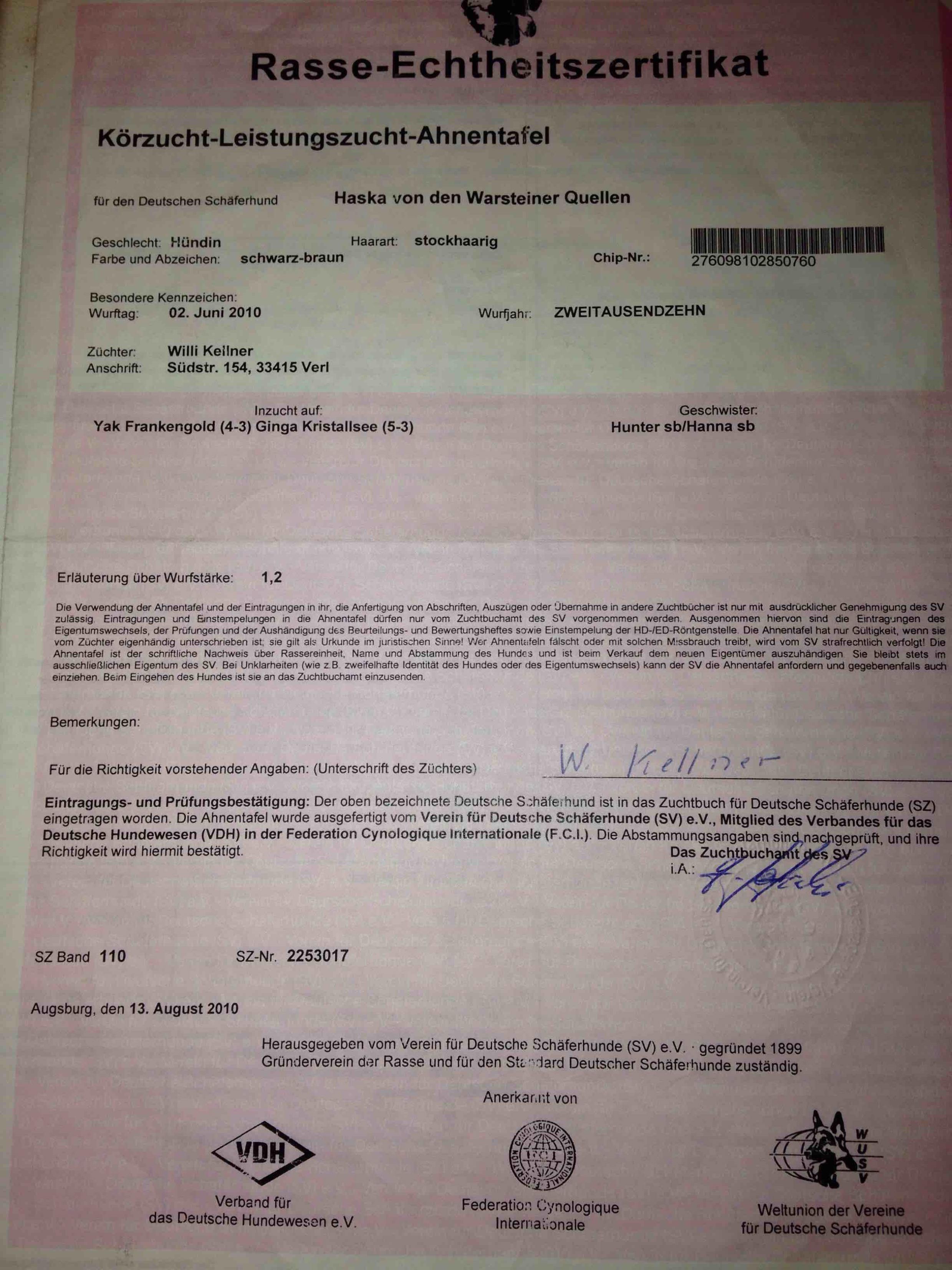 Haska SV Registration