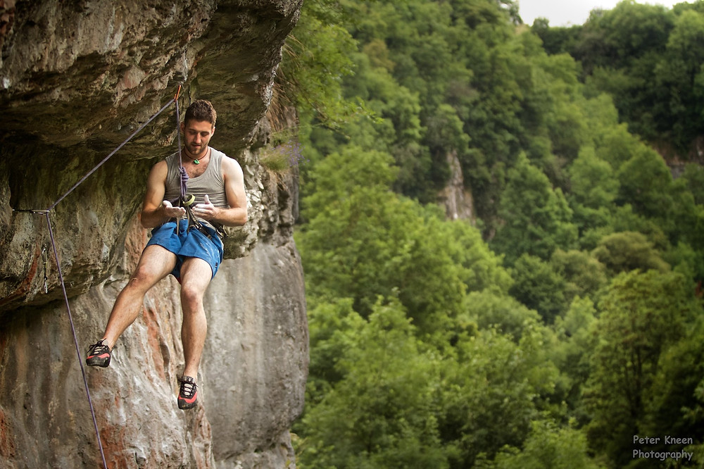 Climbing limestone in the Peak District