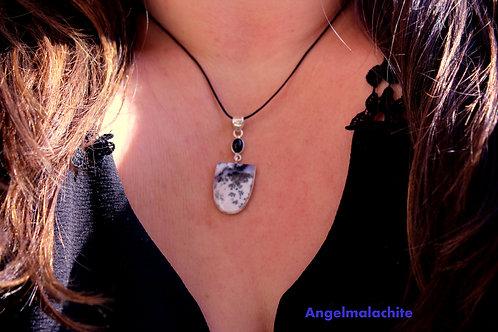 Collier femme, collier Agate, Agate dendritique, Apaisement, Accomplissement