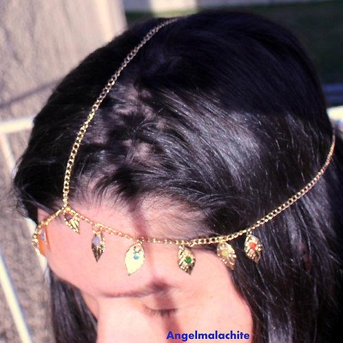 Chaîne de tête, 7 chakras, Améthyste, Chrome, Opale, Tanzanite, Grenat, Topaze