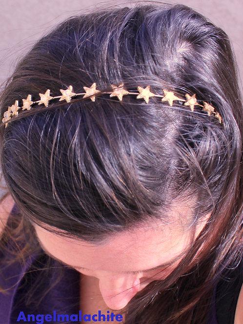 Bandeau à cheveux, Serre tête, étoile, cristal de roche, amplificateur