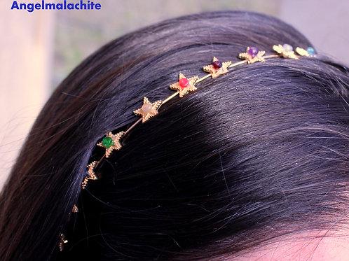 Bandeau à cheveux, Serre tête, 7 chakras, Améthyste, Chrome, Opale, Tanzanite