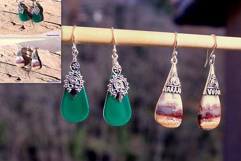 Boucles d'oreilles, Onyx vert, Agate, ethnique, énergie, équilibre, spirituel