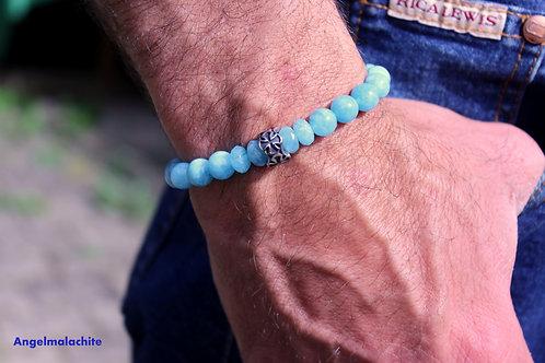 Bracelet homme, bracelet aigue marine,bleu, aigue marine, Apaisant, méditation