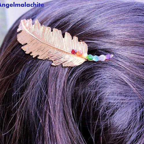 Pince à cheveux, Pince Plume, 7 chakras, Améthyste, Chrome, Opale, Tanzanite