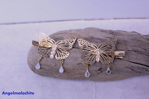 Lot de 2 Pinces à cheveux, pince papillon, cristal de roche, Pierre de lune