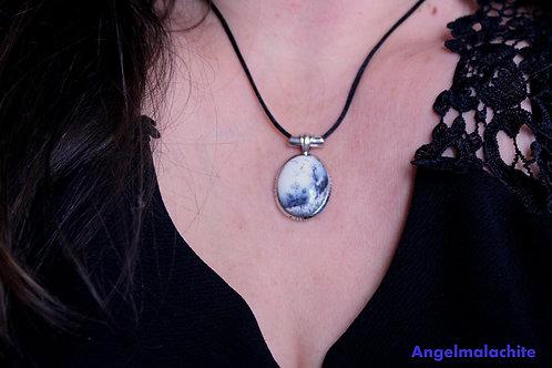 Collier femme, collier Merlinite,Opale dendritique, Pierre magique, Équilibre