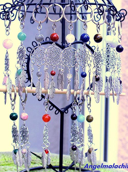 Porte clés, bijoux de sac, attrape rêves, lapis lazuli, Pierre au choix...