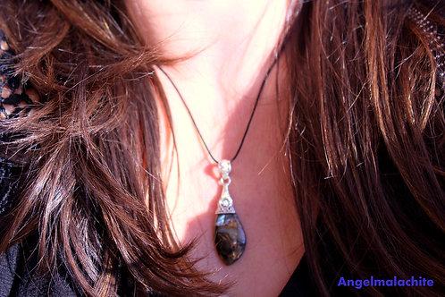 Collier femme, collier Coquillage noir, coquillage noir, Abalone, Pierre de yin