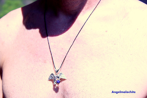 Collier homme/femme, collier saphir, saphir bleu, aigle, sérénité, apaise