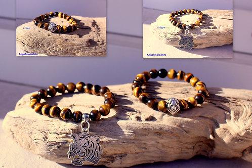 Bracelet enfant, bracelet Œil de tigre, Garçon/fille, pierre protecteur, créatif