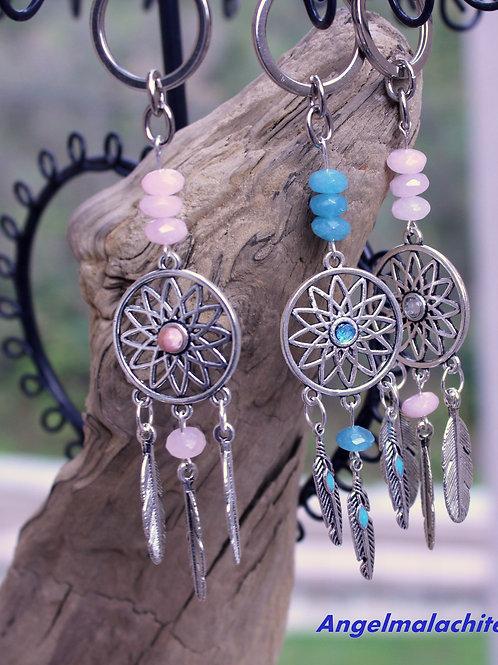 Porte clés,Bijoux de sac, Attrape rêves, Morganite, aigue marine, quartz rose