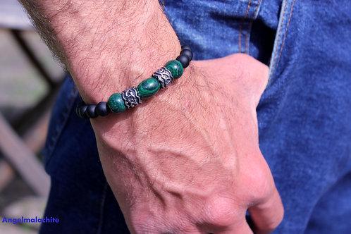 Bracelet homme, bracelet jaspe noir, malachite,anti bactérien,anti inflammatoire