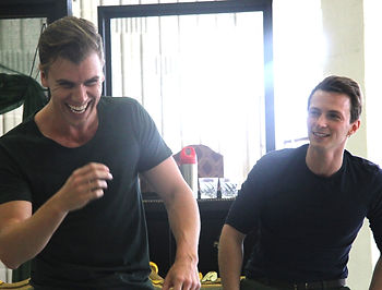 Ross Hannaford and Blake Bowden in rehearsal for Beyond Desire