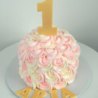 Pink, Gold and White Rosette Smash Cake.